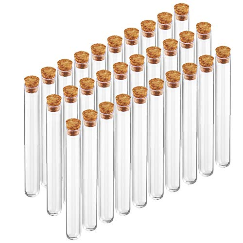 BTSD-home 15x150mm Plastic Test Tubes with Cork Stoppers for Gumball Candy Storage, Bath Salt Vials, Hot Cocoa Containers, Bridal Shower, Baby Shower, Wedding, Kids Birthday Party Favors(30 Pack)