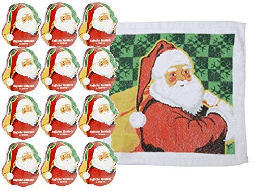 Bada Bing Handtuch 12er Set - Einzigartiges magisches Handtuch - 100 % Baumwolle - Zaubertuch - Weihnachtshandtuch - Santa Claus - Perfektes Geschenk - Adventskalender - 30 x 30 cm