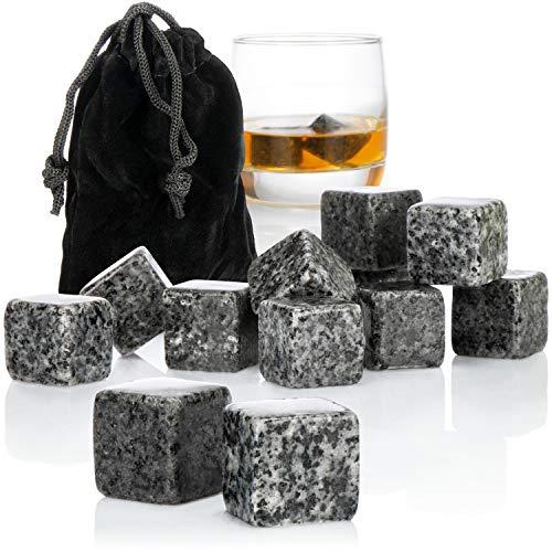 com-four® 12x Whisky Steine in Granitoptik - Kühlsteine für Whiskey mit Aufbewahrungsbeutel aus Stoff - kein Verwässern mehr (Granitoptik grau V1-12 Stück)