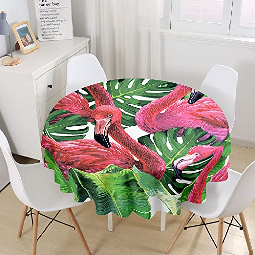 Chickwin Mantel Redondo Estampado Flamenco 3D, Mantel para Mesa Impermeable y Antimanchas, Mantel de Poliéster para Jardin, Comedor, Cocina, Salón Decoración (Monstera,120cm)