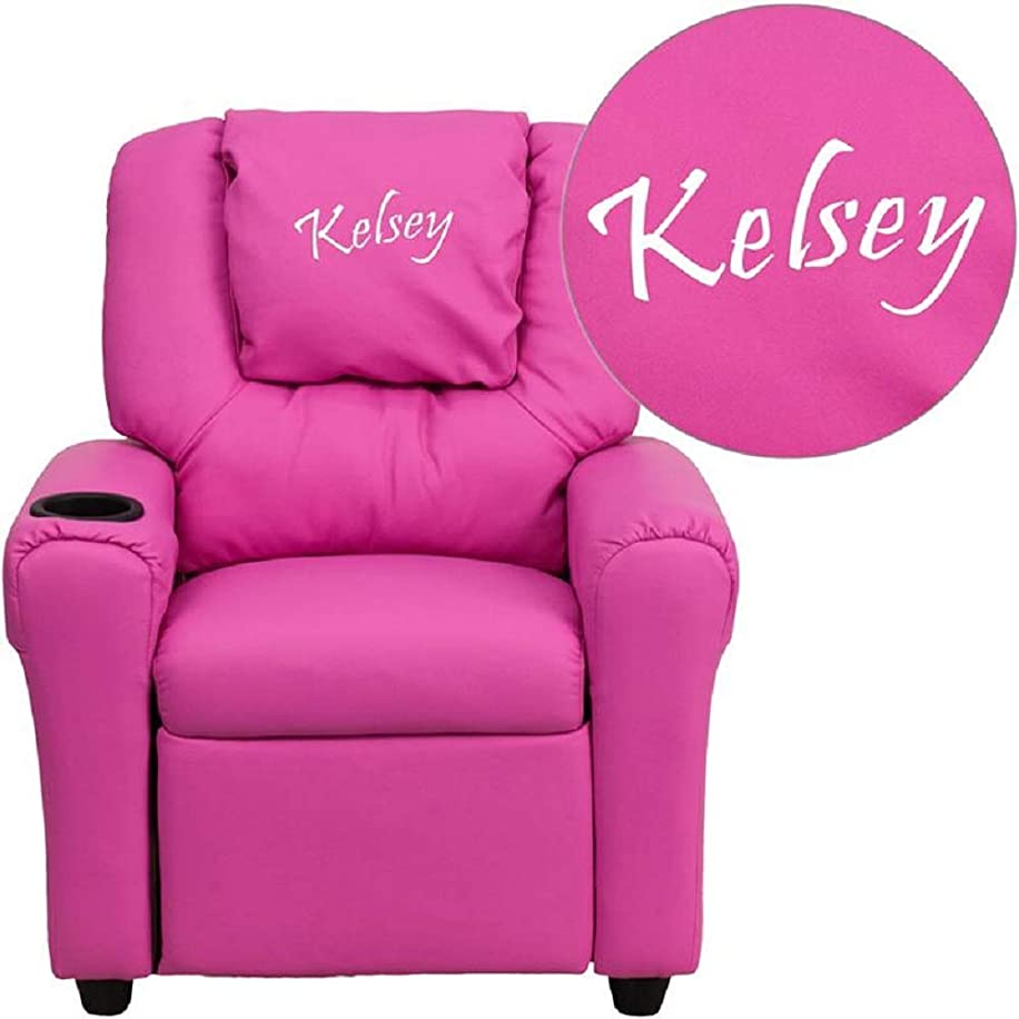 Custom Designed Kids Recliner with Cup Holder and Headrest with Your Personalized Name (Hot Pink)