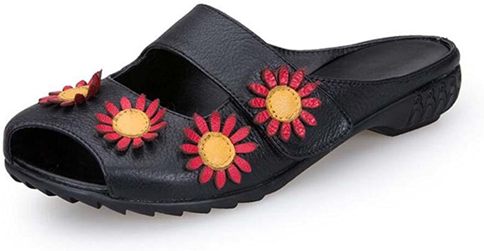 Onfly Pompe Mules Chaussons Des sandales Dames Cuir véritable Confortable Fleurs Creux fermeture velcro Fond doux Chaussures plates Cool Pantoufles Eu Taille 35-40