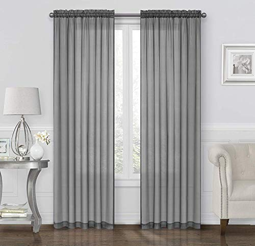 GoodGram 2 Pack: Basic Rod Pocket Sheer Voile Window Curtain Panels - Assorted Colors & Sizes (Gray, 45 in. Long Pair)