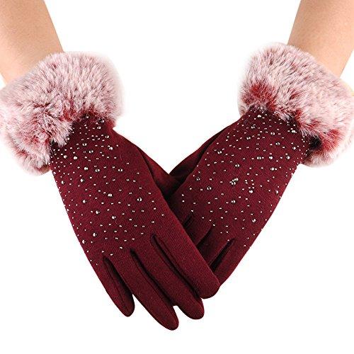 Cebbay Femme Gants Chauffants d'hiver Charme Mode Coton Plein-Doigt Gants à écran Tactile avec pour Filles Randonnée Sports Coupe-Vent Gloves Liquidation