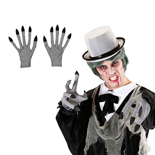 NET TOYS Gants de Vampire Zombie Mains Monstre Gants Mains de Zombie Loup Garou Gants de Carnaval Halloween Déguisement Accessoire