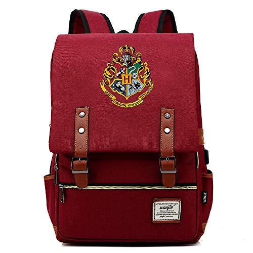 Mochila Harry P, Hogwarts Logo Casual Rucksack, Bolsa Retro de Viaje de Moda Universitaria, con Puerto de Carga USB Unisex Vino Tinto