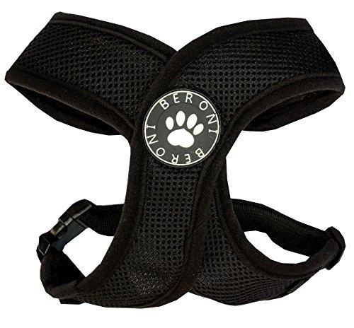 Softgeschirr Hundegeschirr Brustgeschirr XCross weich gepolstert verstellbar für kleine Hunde bis Mops schwarz Mesh NEU! (L: (Brustumfang 47-61 cm))