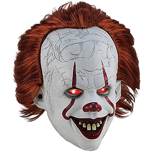 LVLUOKJ Halloween Payaso Espeluznante Pennywise IT Máscara, Partido Accesorio de Disfraces, Máscara Aterradora Casa Embrujada Cosplay Decoraciones, IT Máscara de Látex con Luces