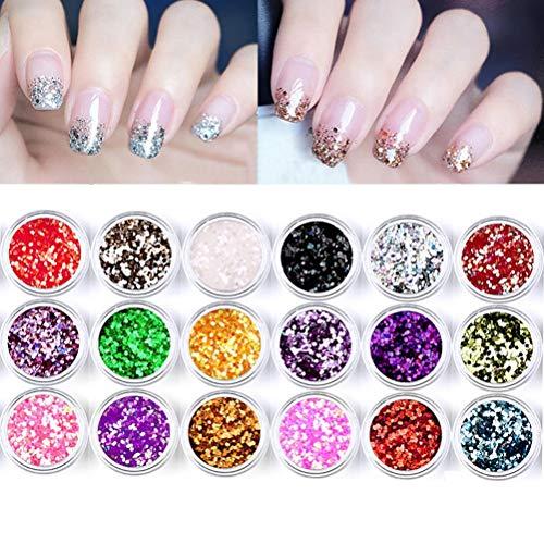 berglink 18 Stück Glitzer Staub Set, Glitter Pulver Paillette Bastel Staub für Make-up und Nagelkunst