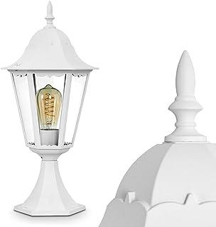 60 Watt Lampadaire ext/érieur Lignac IP44 luminaire pour une ampoule E27 max luminaire vintage en aluminium moul/é noir//argent/é et verres d/épolis de 118 cm de haut compatible ampoules LED