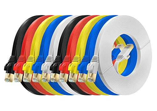MutecPower 5m 10 Pack Cables de Red Ethernet Ultra Plano Cat 7...