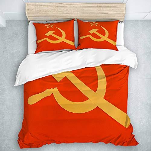 KOSALAER Set Biancheria da Letto,Bandiera Comunista CCCP con Falce e Martello, Simboli del Comunismo,Set Copripiumino in Microfibra con Federa,1 Copripiumino 220x240cm+2 federe 50x80cm