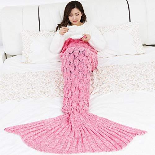 JIAOSHUAIYU Manta para dormir Manta tejida suave crochet saco de dormir hecho a mano mejor regalo de navidad para niños adultos 14070cm rosa