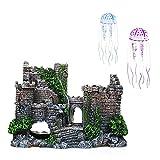 CJBIN Adornos de Acuarios, Decoración Acuario, Decoraciones de Castillo de Resina, Adornos de Resina Cueva de Acuario con Medusas Resplandecientes, Accesorios Acuario, Gris
