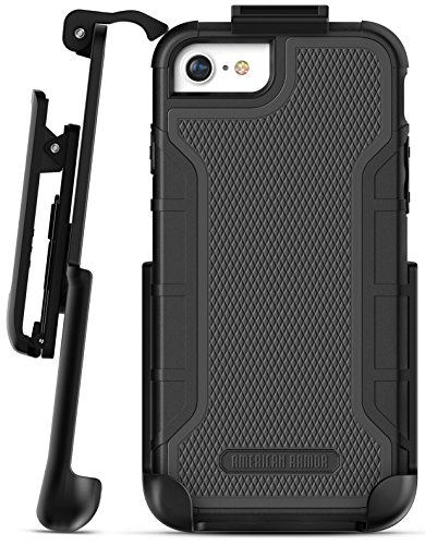 "Encased iPhone 6 Belt Clip Case - American Armor² (Heavy Duty) Tough Rugged Phone Case with Screen Protector and Holster Clip for Apple iPhone6 4.7"" [Military Grade Protection] - Black"