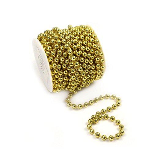 Sepkina Perlenband Perlenkette Baumschmuck Weihnachsbaum Perlengirlande Perlenschnur Weihnachten Advent Hochzeit Deko Tischdeko Meterware 10 Meter Gold (S-P6-03-gold-10m) (0,80€/m)