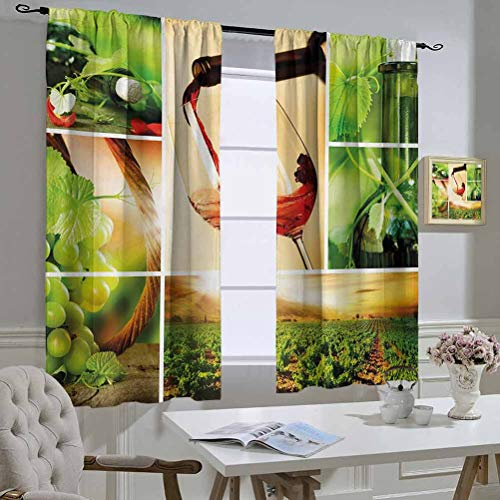 Mozenou Wine Curtains/Panels/Drapes Wine Tasting and Grapevine Collage Green Fresh Field Pouring Drink Delicious The Best Choice for Bedroom and Living Room 52x54 Inch Green Ruby Caramel