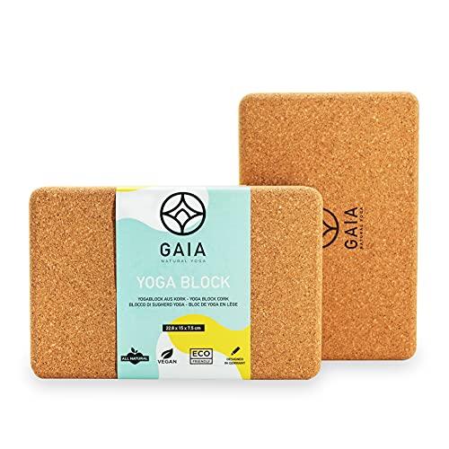 Gaia - Natural Yoga Yoga Block 2er Set - Premium Yoga Set, griffiger Yogablock Kork für Yoga und Pilates, 100% Naturkork