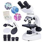 USCAMEL Microscopio composto binoculare LED con ingrandimento 40X-1000X con oculari 10X 25X ad ampio...