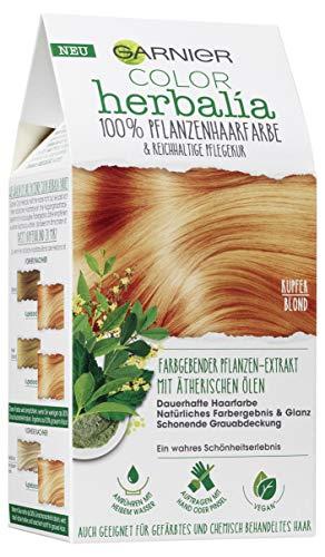 Garnier Color Herbalia Kupferblond, Pflanzenhaarfarbe mit Henna, Indigo und ätherischen Ölen, vegane Haarfarbe (3 Stück)