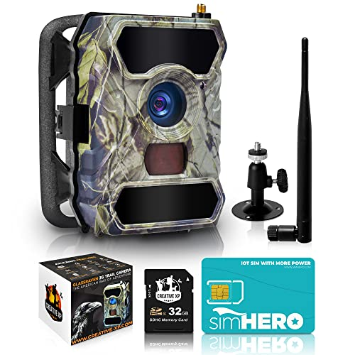 CREATIVE XP 2021 LTE 4G Cellular Trail Cameras – Outdoor WiFi Full HD Wild Game Camera with Night Vision for Deer Hunting, Security - Wireless Waterproof and Motion Activated – 32GB SD Card (1-Pack)