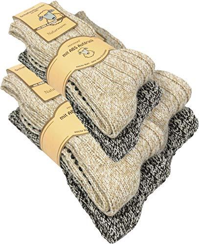 normani 2, 4 Paar oder 6 Paar Norweger Strick-Socken mit Antirutsch Sohle, Woll Socken mit ABS Sohle. Hütten Socken Farbe 6 Paar Größe 43-46