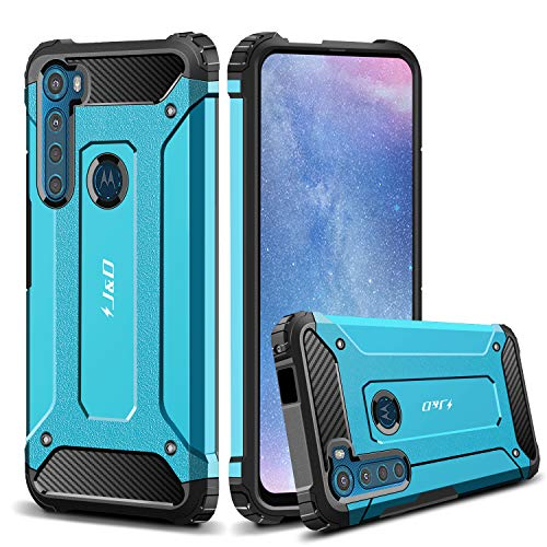 JundD Kompatibel für Motorola One Fusion +/Motorola One Fusion Plus Hülle, [ArmorBox] [Doppelschicht] [Heavy-Duty-Schutz] Hybrid Stoßfest Schutzhülle für Motorola One Fusion + Handyhülle (Blau)