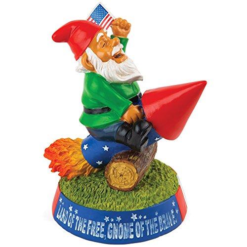 BigMouth Inc. Patriotischer Gartenzwerg mit Rakete und USA Flagge - Gartenfigur Garten Zwerg