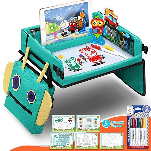 Fivejoy 2 in 1 Kinder Reisetisch, Roboter Rucksack Knietablett Reisetisch mit Ersichtlich iPad-Halterung Spieltisch Tisch Auto - Bonus 5 Pädagogische Zeichenpapiere - Geschenk für 3+ Jahre Kinder