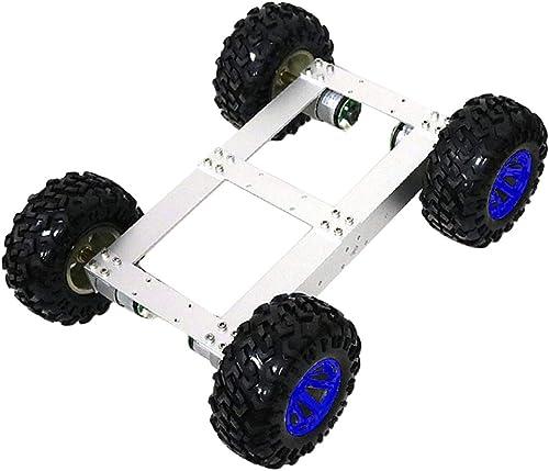 F Fityle 12V 300RPM Auto Chassis Roboter Plattform Auto fürgestell mit Zubeh für Arduino, ca. 390 x 295 x 130 mm - Blaues Rad