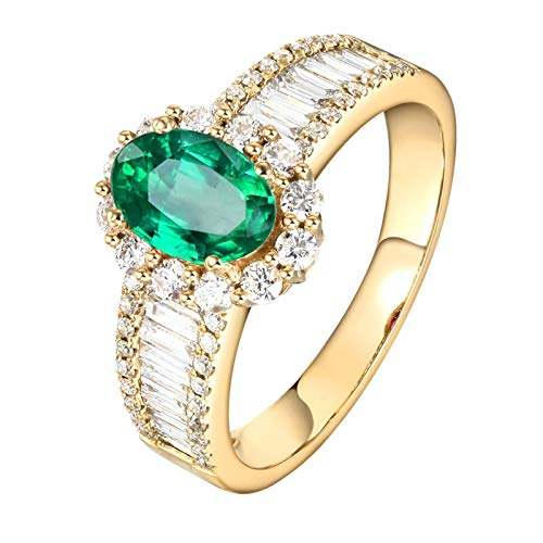 Beydodo Anillo Oro Amarillo 18 Kilates(750) Mujer Halo Oval Brillante Esmeralda Verde Blanca 0.85ct Anillo Talla 8