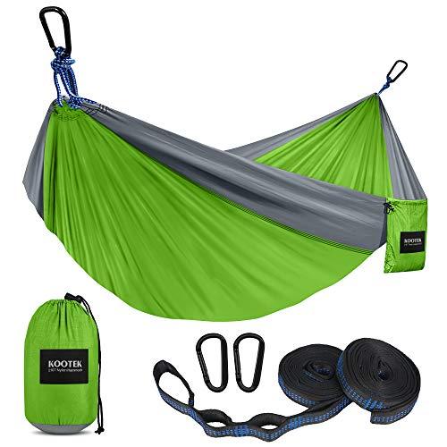 Kootek Camping Hammock Double & Single Portable Hammocks with 2 Tree Straps, Lightweight Nylon Parachute Hammocks for Backpacking, Travel, Beach, Backyard, Patio, Hiking (Green & Grey, Small)