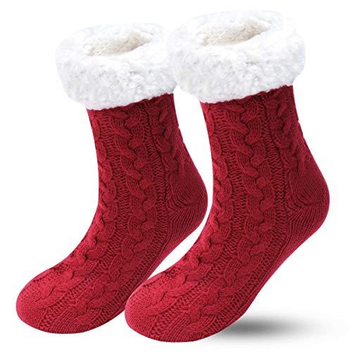 Calcetines de invierno para mujer, antideslizantes, suaves, acogedores, con forro polar, esponjosos y peludos, para el hogar, calcetines unisex para el mejor regalo de Navidad Rojo rojo vino M