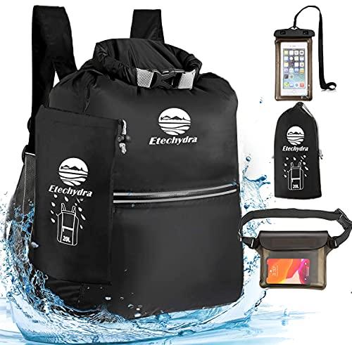 Etechydra Dry Bag 10L Rucksack Wasserdicht Taschen, Ultralight Wasserdichter Packsack Sack Beutel Outdoor für Boote Strand, Kajak, Camping, Bootfahren, Schwimmen, Angeln, Wandern, Schwarz.