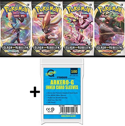 A Pokemon 4 Booster Clash der Rebellen Sammelkarten | DEUTSCH | Schwert & Schild Karten Serie | + Arkero-G 100 Soft Card Sleeves