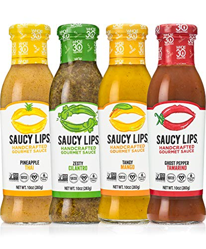 Saucy Lips, Keto (4-Pack), Handcrafted Gourmet Sauces and Marinades, Vegan Dressing, Keto Certified, Whole30 Approved, Sugar & Gluten Free, Non-GMO, Low Carb & Low Sodium Dressing, 10 oz