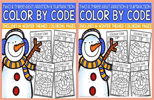 Winter 3-Digit Addition and Subtraction Color by WORD No Prep Printables: Color by WORD (English Edition)