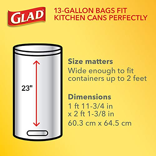 Glad ForceFlex Tall Kitchen Drawstring Trash Bags 13 Gallon White Trash Bag, Unscented 120 Count (Package May Vary)