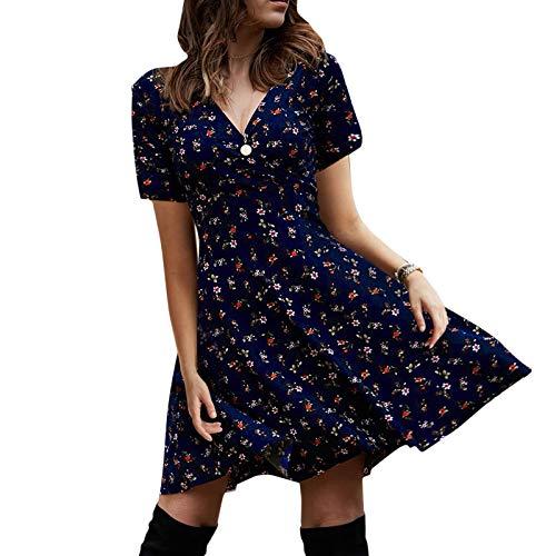 MoneRffi Damen Kleider Boho Sommerkleid V-Ausschnitt Kurzarm Strandkleider Mittellange Rüsche Retro Casual Blusenkleid für Alltag(Dunkelblau,M)