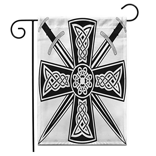 Adowyee 28'x 40' Garden Flag Pagan Celtic Cross The Crossed Swords Knot Medieval Tribal Outdoor Double Sided Decorative House Yard Flags
