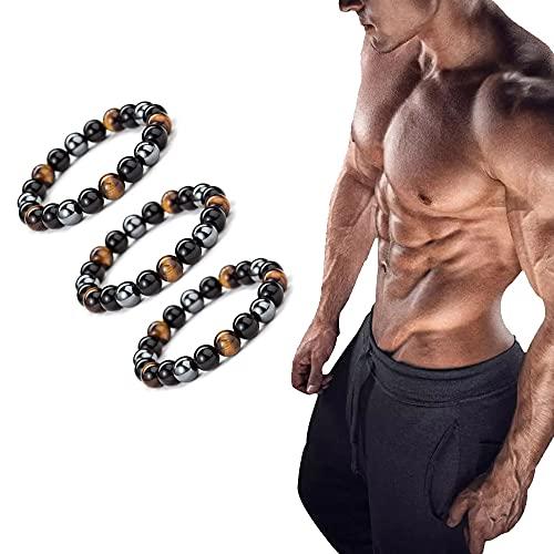 Men SteelHard Triple Infrared Bracelet, Lymphatic Drainage Black Obsidian Bracelet, Anti-Swelling Black Obsidian Anklet, Magnetic Therapy Bracelet (3Pcs)