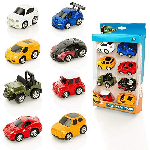 Wheelz Pull Back Cars For Kids - Set of 8 Diecast Toy Cars - For Boys or Girls Aged 3 Years +