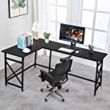 VECELO Modern L-Shaped Desk with CPU Stand/PC Laptop Study Writing Table Workstation for Home Office Wood & Metal,Black