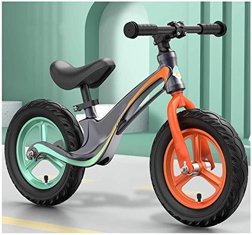 JIAO Bicicleta De Entrenamiento Deportivo De Balance De Bicicleta Y Ligero De Aleación De Magnesio, Ruedas Inflables De 12 Pulgadas De Asiento Ajustable, Adecuado para 2 A 6 Años(Color:Gris)