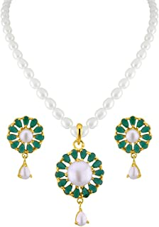 Sri Jagdamba Pearls Green Stone Pearl Pendant Set for Women