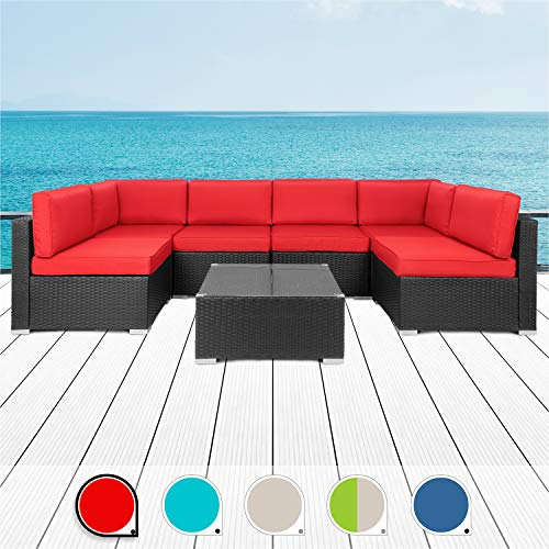 Walsunny 7pcs Patio Outdoor Furniture Sets,Low Back All-Weather Rattan Sectional Sofa with Tea Table&Washable Couch Cushions (Black Rattan)(Red)…