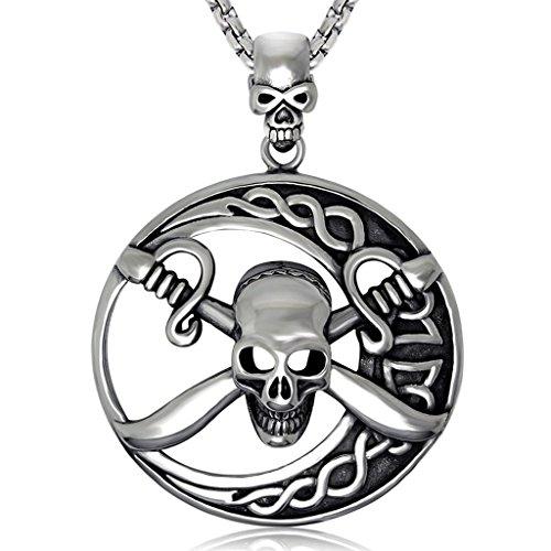 Feilok Edelstahl Anhänger Halskette für Herren, Pirat Skelett Pirat Skull Kreuz-Knochen Vollmond, Silbern