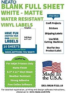 Printable Matte Vinyl Sticker Paper - 8.5