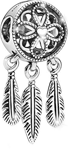 MariaFonte Bead Charm Dreamcatcher (acchiappasogni) in Argento Sterling 925 con Zirconia cubica, Compatibile con Le più Diffuse Marche di Braccialetti e collane.