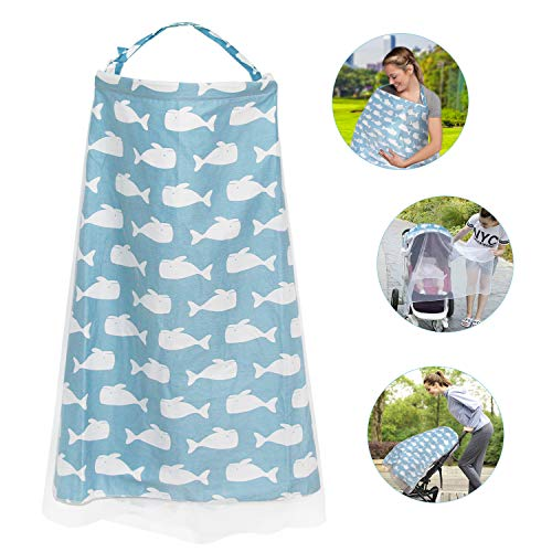 Langwolf Nursing Cover for Breastfeeding, Soft Cotton Nursing Apron, Multi Use for Baby Car Seat Covers Canopy Shopping Cart Cover Scarf Light Blanket Stroller Cover (Blue)